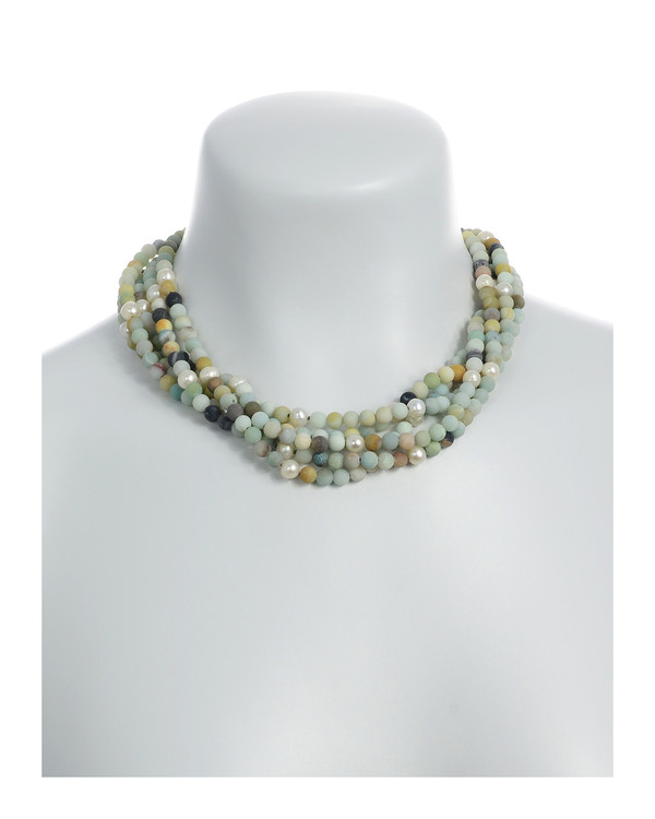 "On model: Freshwater pearl and gemstone necklace, Five strands, white freshwater pearls 7.5mm, untumbled multi-colored amazonite 6mm, on individually hand-knotted natural silk with rare earth mixed metal magnetic clasp, 18"" in length"
