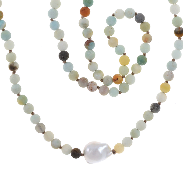 zoom: Single strand pearl and gemstone necklace, single white freshwater biawa pearl 12-16mm, multi-colored untumbled amazonite 6mm, on individually hand-knotted natural colored silk