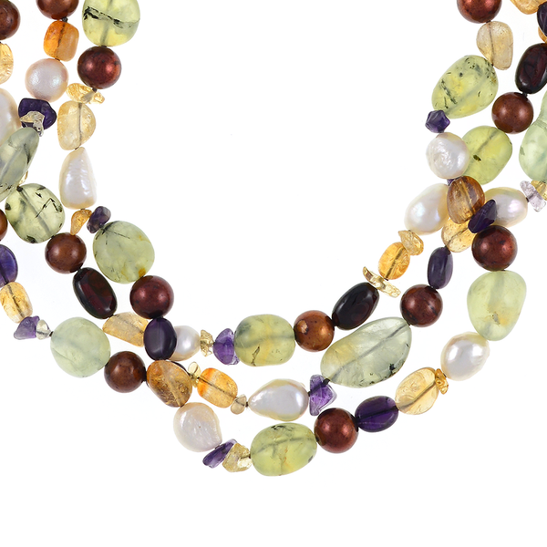 Pearl Necklace Accented with Stones zoom On Cascadia: Triple strand, white freshwater potato pearls 9-11mm, round brown freshwater pearls 9-10mm, with peridot, citrine, & amethyst stones, individually hand-knotted on natural silk with rare earth mixed metal magnetic clasp
