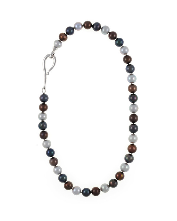 "Charbonnel - Pearl Necklace, Single strand mixed color freshwater pearls (chocolate, charcoal, and platinum) 10-11mm, on individually hand-knotted brown silk, silver metal locking ""S"" clasp, 19"" in length."