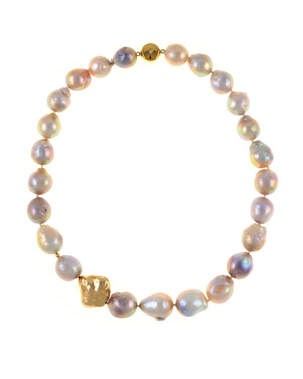 Cherry Blossom - Pearl Necklace, Single strand natural color pink and purple gold Edison pearls 14-17mm, with sterling silver bead dipped in 9K gold, on individually hand-knotted natural silk, featuring brushed gold tone double-sided magnetic moonlight clasp set with a single CZ.