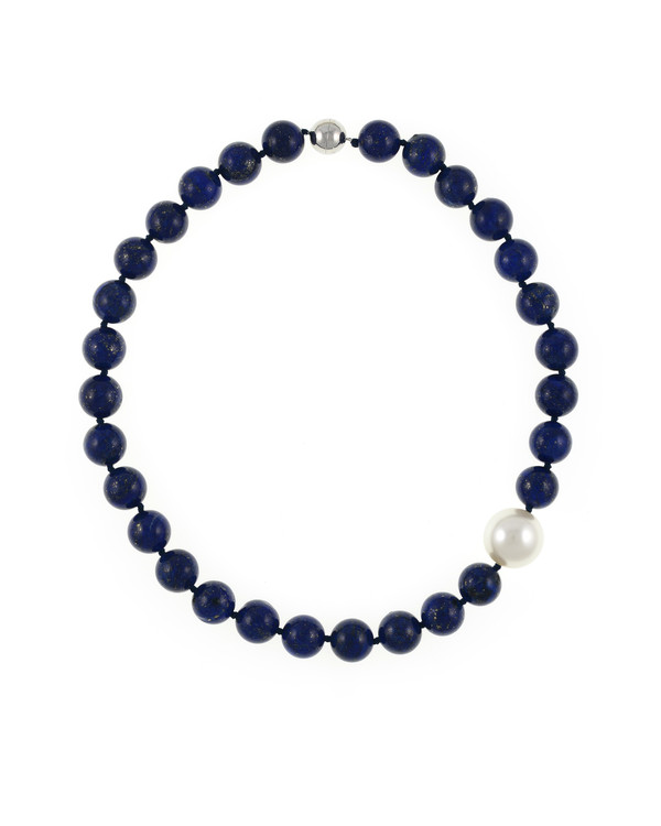 Côte d'Azur‎ - Lapis and Pearl Necklace, Single strand lapis beads 14mm flecked with pyrite, with offset shell pearl 20mm, on individually hand knotted black silk, featuring rare earth mixed metal magnetic clasp
