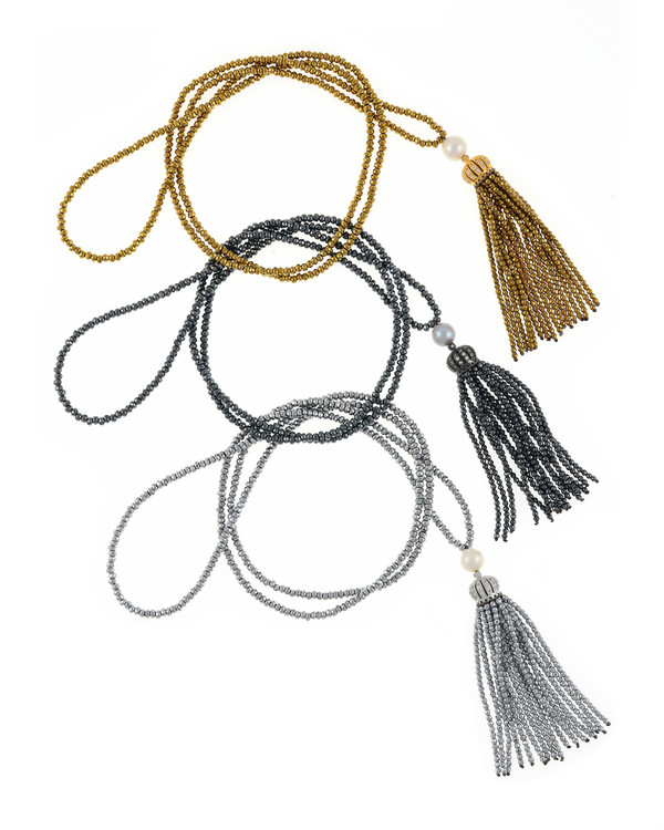 Cotton Club Collection* - Hematite and Pearl Jewelry, All 3 colors of Cotton Club, gold-tone, gunmetal tone, and silver-tone: Single strand hematite bead necklace with white freshwater pearl 9mm, suspended with CZ set crown supporting hematite bead tassel.
