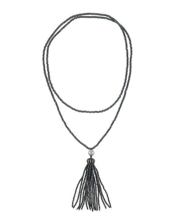 "Cotton Club Collection* - Hematite and Pearl Jewelry, Single strand gunmetal tone hematite bead necklace with white freshwater pearl 9mm, suspended with CZ set gunmetal toned crown supporting hematite bead tassel, overall drop 3"", 32"" in length."
