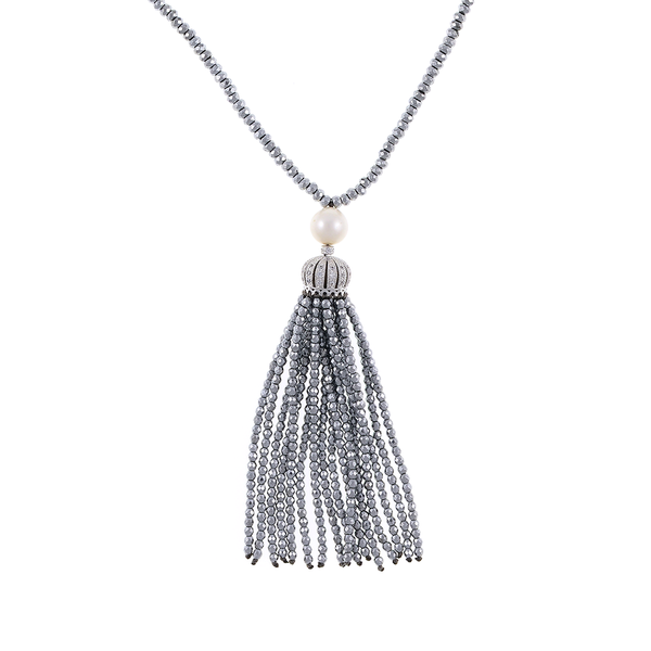 "Cotton Club Collection* - Hematite and Pearl Jewelry, zoom of silver-tone tassel: Single strand silver-tone hematite bead necklace with white freshwater pearl 9mm, suspended with CZ set silver-toned crown supporting hematite bead tassel, overall drop 3"", 32"" in length."