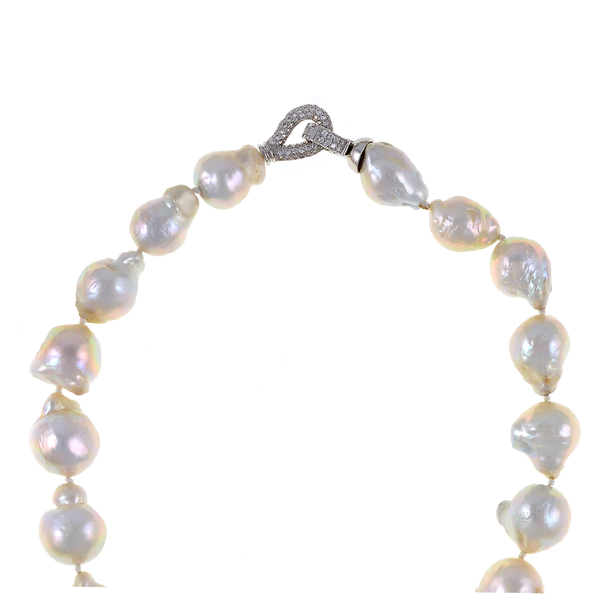 "Denali - Pearl Necklace, Zoom of Denali CZ clasp: Single strand freshwater white biawa pearls 13-15mm, exceptional lustre, pendant is 1.25"" sterling silver set with CZs suspending a biawa pearl 17mm. Locking hook clasp set with CZs, individually hand-knotted on white silk, 17"" in length, pendant drop and biawa pearl adds approximately 2.5"" to overall length."