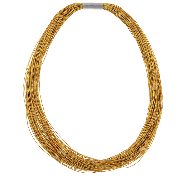Gold Danxia Silk Necklace: Colored pure silk (75 strands) gathered together with a rare earth mixed metal magnetic clasp.