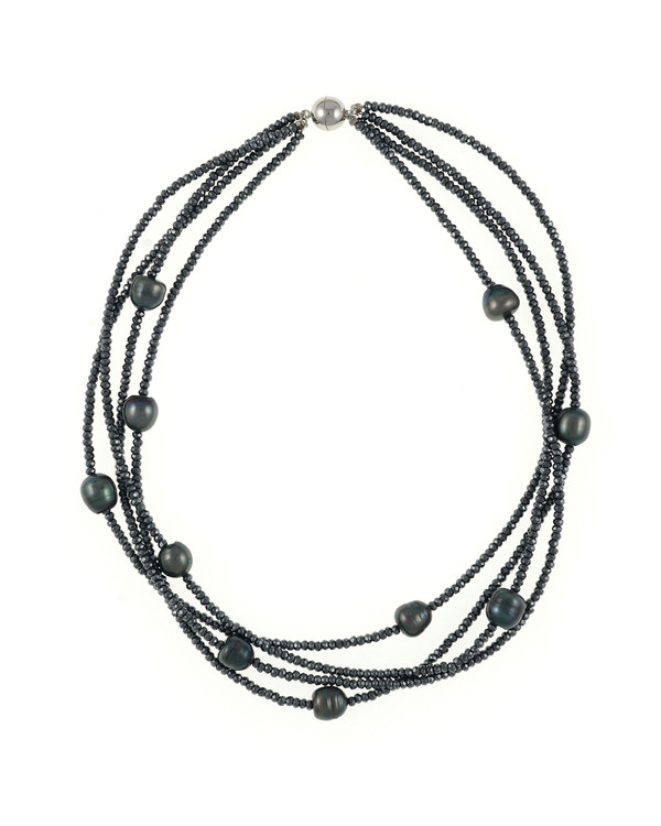 Triple strand black freshwater pearls 9-10mm, black facet cut hematite, on black silk with rare earth mixed metal magnetic