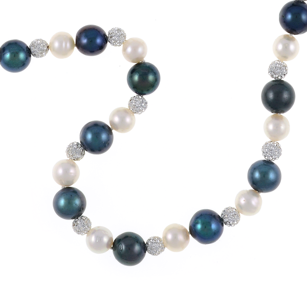 zoom: Geneva Pearl Necklace, Exceptional quality single strand, white freshwater pearls 7.5-8.5mm, black laser dyed freshwater pearls 10.5-11.5mm, set with silver Swarovski crystal studded beads 6mm, and shell pearl safety clasp 12mm, also set with CZ's on individually hand knotted natural silk