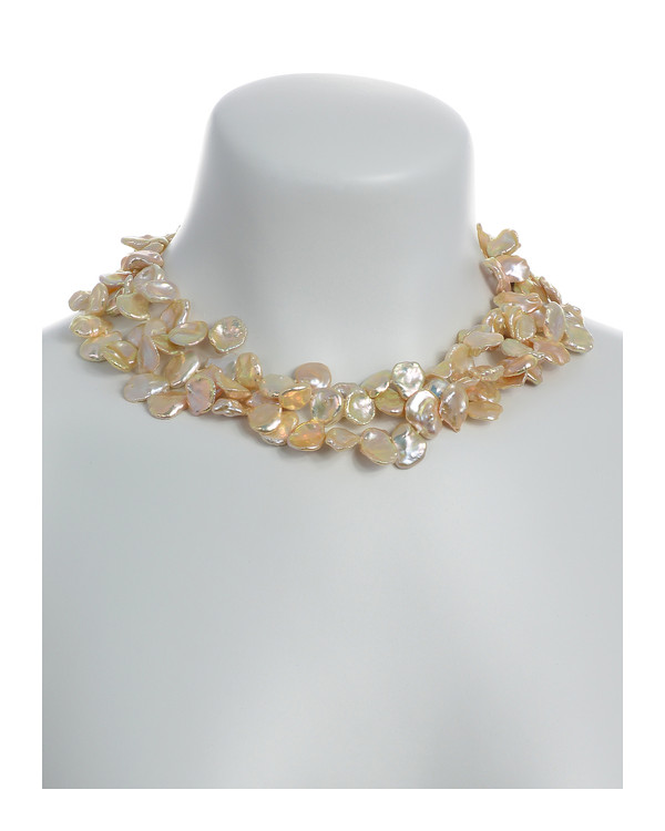 "on model, Peachtree Street Pearl Necklace: Triple strand extra-large natural color peach keshi pearls 12-13mm, on individually hand-knotted natural silk, silver-tone locking buckle clasp, 18"" in length (princess length)"