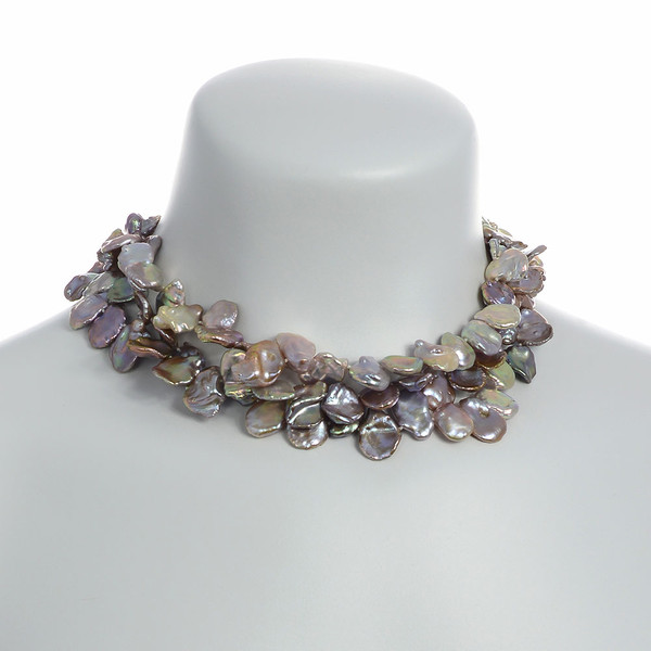 on model: Lavender Fields Provence Pearl Necklace: Exceptional triple strand extra-large, 12-13mm natural color, lavender keshi pearls, on individually hand-knotted natural silk with silver color locking buckle clasp