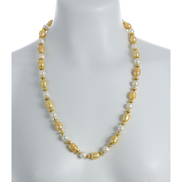 "Leone d'Oro I Pearl Necklace shown on model: Single strand freshwater white 9mm and gold 10.5x13mm laser dyed gold pearls interspaced with finely detailed CZ and brass beads, 26"" in length, opera to rope length"