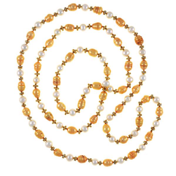 """Leone d'Oro I Pearl Necklace and Leone d'Oro II Pearl Necklace (http://naughtonbraun.com/leone-doro-ii/) shown together where Leone d'Oro II  (http://naughtonbraun.com/leone-doro-ii/) is longer, 30""""."""