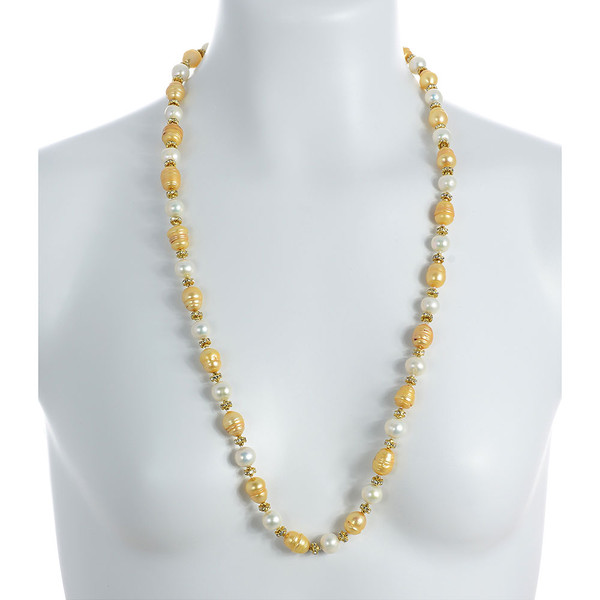 "Leone d'Oro II - Pearl Necklace on model: Single strand freshwater pearl necklace, white 9mm and gold 10.5x13mm laser dyed pearls interspaced with crystal and mixed metal beads, longer necklace.  30"", rope or lariat length"