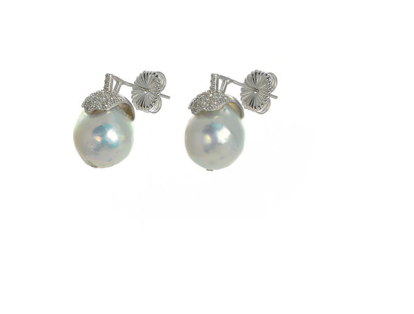 zoom Lucerne  Pearl earrings: Single grey round freshwater biawa 10-11mm, with sterling silver CZ encrusted cap, and sterling silver friction back.
