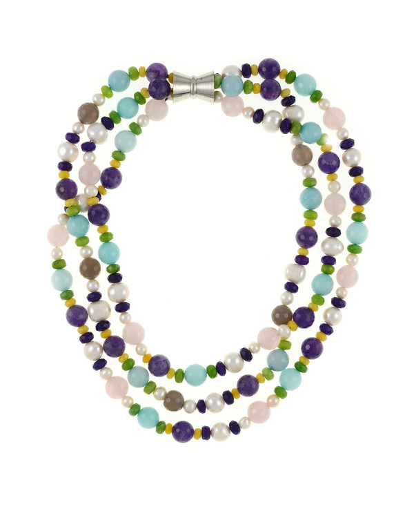 Mallory Square  - Pearl and Gemstone Necklace: Triple strand white freshwater pearls 7-12mm, facet cut rose quartz, amethyst, agate, and jade, on hand-knotted natural silk with rare earth mixed metal magnetic clasp, princess to matinee length