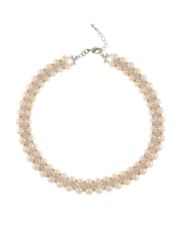 """Monaco Frost necklace: double strand white 7-8mm freshwater pearls, white 8-9mm freshwater pearls, separated by stainless steel and clear CZ spacers, sterling silver clasp on hand-knotted natural silk, 18"""" in length with jump chain allows for additional overall 20"""" length, (princess length, expands to matinee length)"""