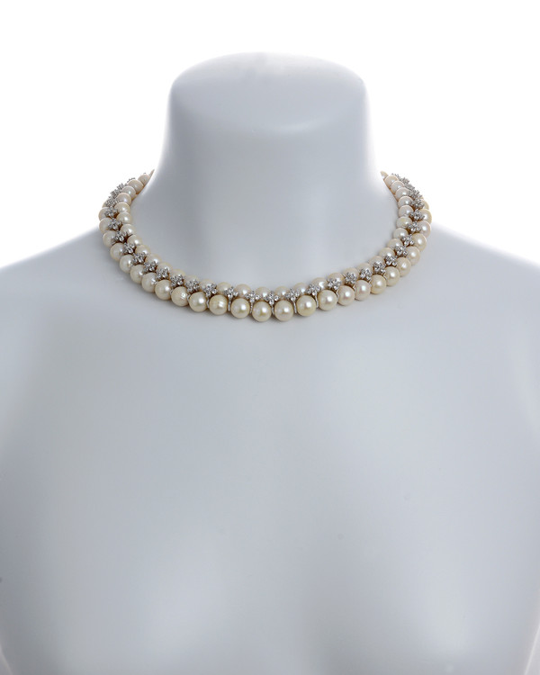 """on model, Monaco Frost necklace: double strand white 7-8mm freshwater pearls, white 8-9mm freshwater pearls, separated by stainless steel and clear CZ spacers, sterling silver clasp on hand-knotted natural silk, 18"""" in length with jump chain allows for additional overall 20"""" length, (princess length, expands to matinee length)"""