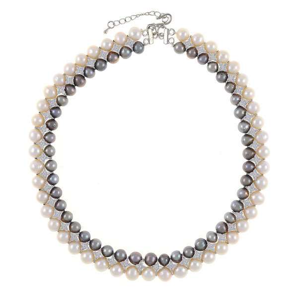 """Monaco Gray necklace: double strand 7-8mm grey freshwater pearls white 8-9mm freshwater pearls separated by stainless steel and CZ spacers, sterling silver clasp on hand-knotted natural silk, 18"""" in length with jump chain allows for additional overall 20"""" length, (princess length, expands to matinee length)"""