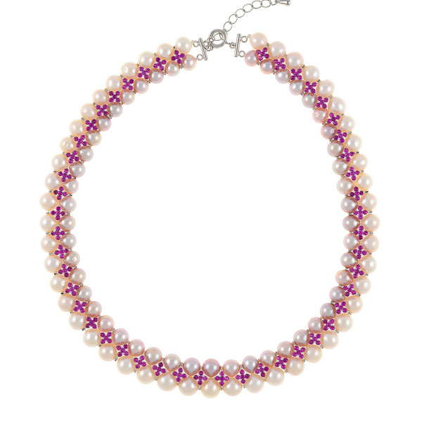 """Monaco Rose necklace: double strand 7-8mm natural color freshwater pink pearls, white 8-9mm freshwater pearls, separated by stainless steel and rose colored CZ spacers, sterling silver clasp on hand-knotted natural silk, 18"""" in length with jump chain allows for additional overall 20"""" length, (princess length, expands to matinee length)"""