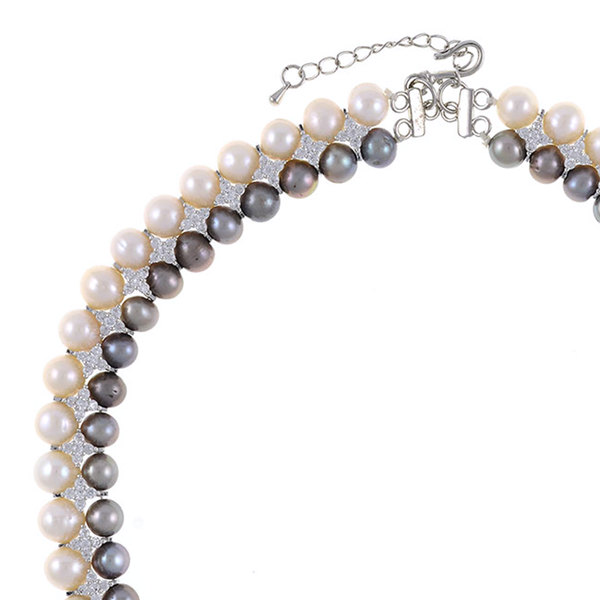 """zoom, Monaco Gray necklace: double strand 7-8mm grey freshwater pearls white 8-9mm freshwater pearls separated by stainless steel and CZ spacers, sterling silver clasp on hand-knotted natural silk, 18"""" in length with jump chain allows for additional overall 20"""" length., (princess length, expands to matinee length)"""