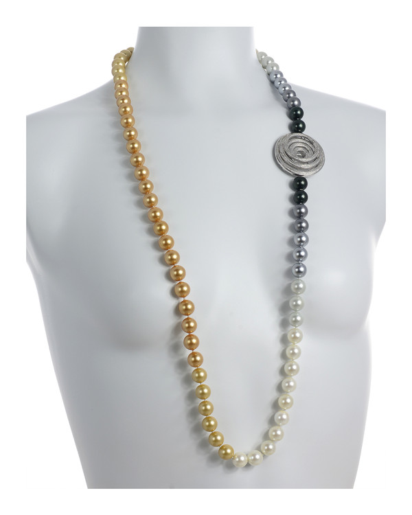 "on model, Pennsylvania Avenue necklace: Single strand ombre mix of gold, white, silver, and black shell pearls 12mm, CZ enhanced geometric pendant accent in mixed metal, on individually hand-knotted natural silk, 40"" in length (lariat length)"