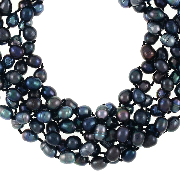 zoom on Persephone pearl necklace: 6-strand laser dyed gradient-hued black freshwater pearls 10.5-13mm, on individually double-knotted natural silk, with extra-large rare earth mixed metal magnetic clasp.