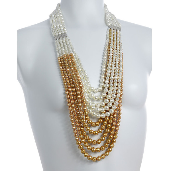 "on model, Potala Palace Pearl necklace: Magnificent 5 strands transitioning into 10 strands, exceptional white and gold shell pearls 4-10mm, 5 bar CZ enhanced mixed metal spacer, 28"" transitioning to 36"" in length (lariat style draped necklace)"