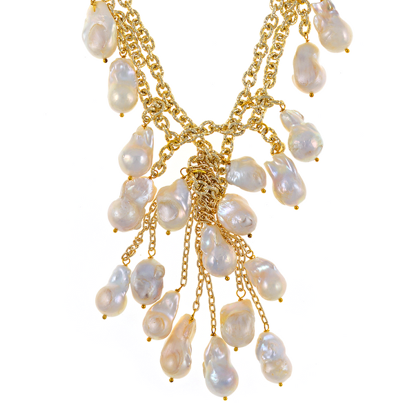 """zoom of Roma Pearl necklace: Double strand of mixed metal gold tone chain, biawa freshwater pearls 12-14mm, 5"""" long biawa freshwater pearls cascade, rare earth mixed metal magnetic clasp, 17"""" in length (choker style with cascading drape of biawa freshwater pearls)"""