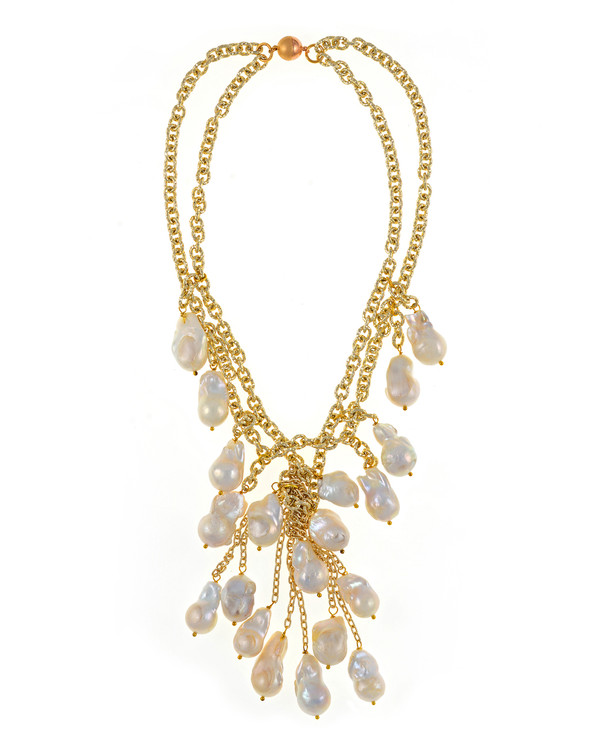 """Roma Pearl necklace: Double strand of mixed metal gold tone chain, biawa freshwater pearls 12-14mm, 5"""" long biawa freshwater pearls cascade, rare earth mixed metal magnetic clasp, 17"""" in length (choker style with cascading drape of biawa freshwater pearls)"""