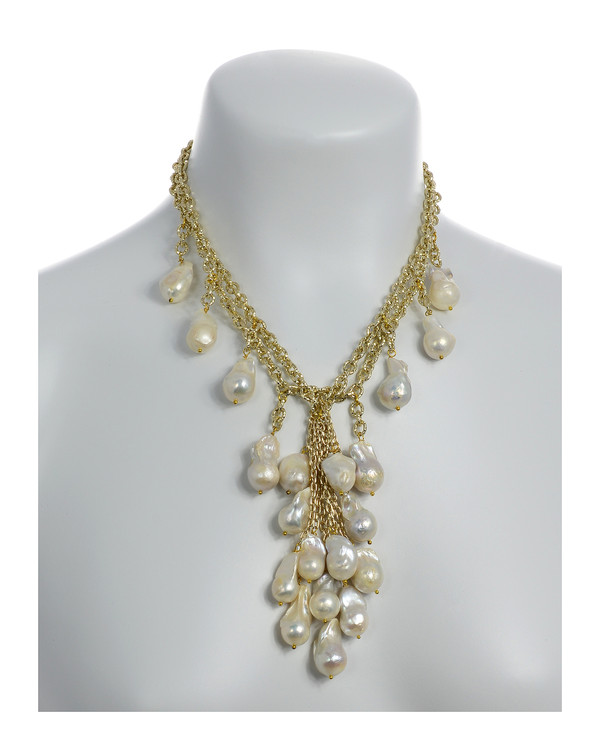 """on model, Roma Pearl necklace: Double strand of mixed metal gold tone chain, biawa freshwater pearls 12-14mm, 5"""" long biawa freshwater pearls cascade, rare earth mixed metal magnetic clasp, 17"""" in length (choker style with cascading drape of biawa freshwater pearls)."""