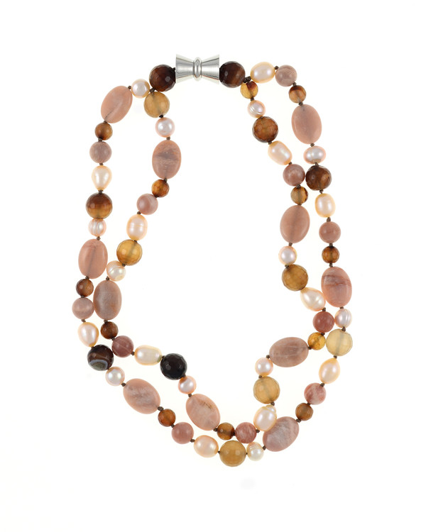 """Taos Pearl Necklace Accented with Stones: Double strand natural colored round 8.5mm peach and 10mm oval freshwater pearls, integrated with sunstone oval beads and mixed color agate, on individually hand-knotted beige silk with a rare earth mixed metal magnetic clasp, 18"""" in length (princess length)"""