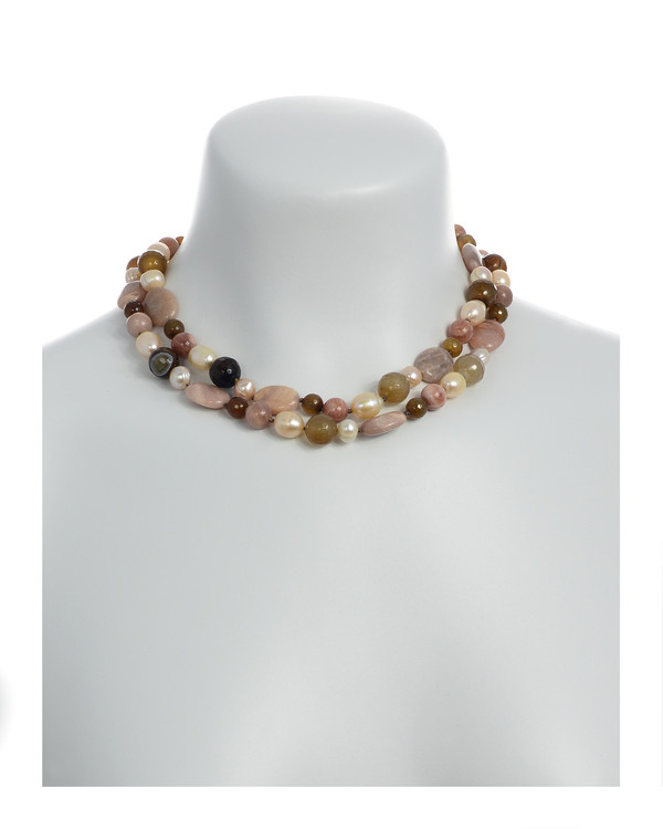 """Pearl Necklace Accented with Stones on model : Double strand natural colored round 8.5mm peach and 10mm oval freshwater pearls, integrated with sunstone oval beads and mixed color agate, on individually hand-knotted beige silk with a rare earth mixed metal magnetic clasp, 18"""" in length (princess length)"""