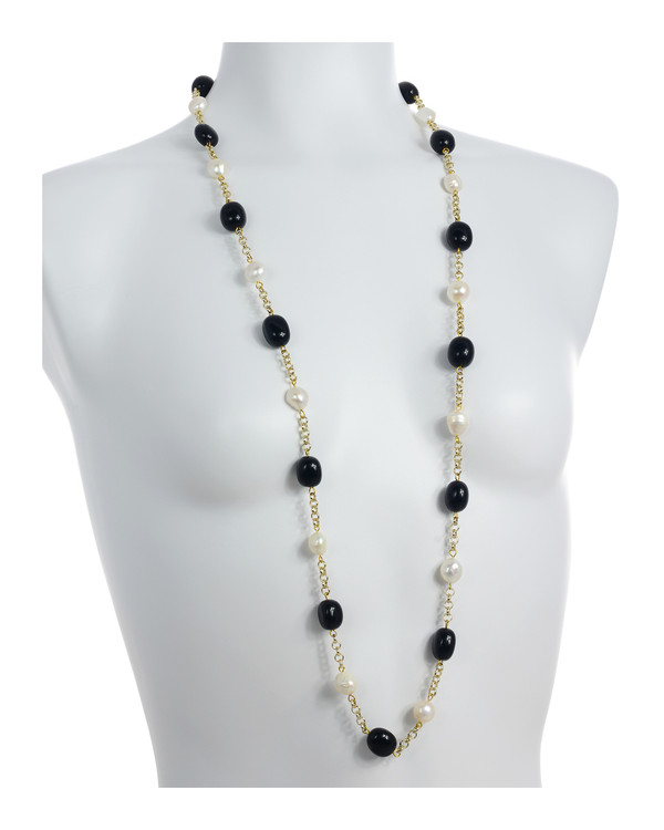 "on model Tibet I Pearl Necklace Accented with Stones: Single strand 11-12mm white freshwater potato pearls mixed with oval polished onyx, on mixed metal gold-tone chain, 40"" in length (rope length)"