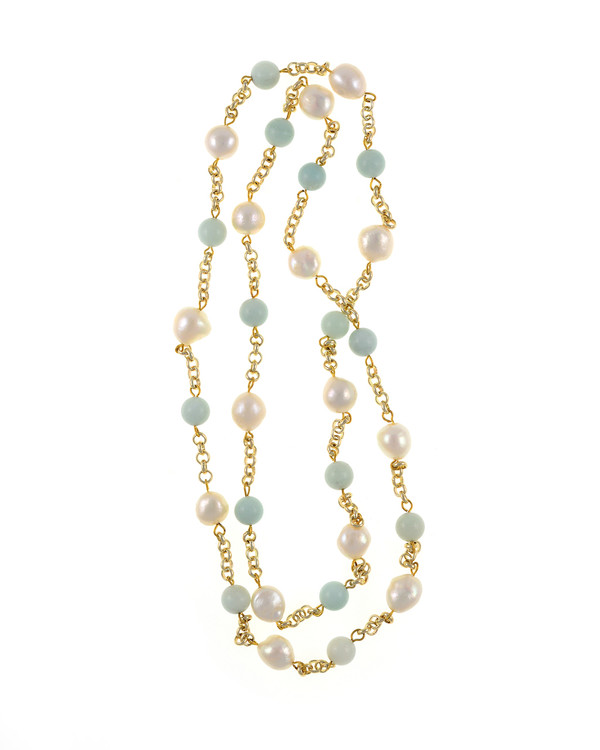 "Tibet III Pearl Necklace Accented with Stones: Single strand 11-12mm white freshwater potato pearls mixed with amazonite beads on mixed metal gold-tone chain, 40"" in length (rope length)"