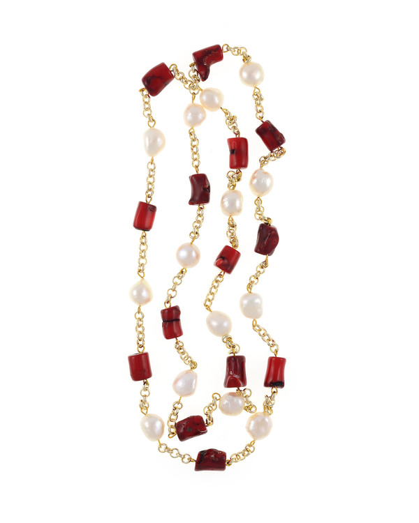 """Tibet II Pearl Necklace Accented with Stones: Single strand 11-12mm white freshwater potato  pearls, mixed with dyed red coral, on mixed metal gold-tone chain, 40"""" in length (rope length)"""