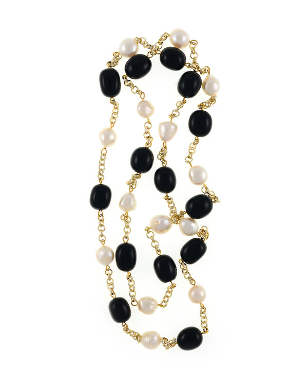 "Tibet I Pearl Necklace Accented with Stones: Single strand 11-12mm white freshwater potato pearls mixed with oval polished onyx, on mixed metal gold-tone chain, 40"" in length (rope length)"