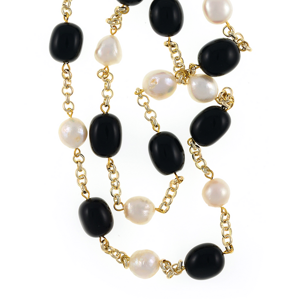 "zoom of Tibet I Pearl Necklace Accented with Stones: Single strand 11-12mm white freshwater potato pearls mixed with oval polished onyx, on mixed metal gold-tone chain, 40"" in length (rope length)"