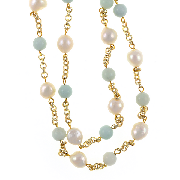 """zoom of Tibet III Pearl Necklace Accented with Stones: Single strand 11-12mm white freshwater potato pearls mixed with amazonite beads on mixed metal gold-tone chain, 40"""" in length (rope length)"""