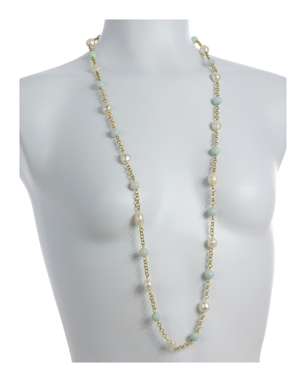 "on model Tibet III Pearl Necklace Accented with Stones: Single strand 11-12mm white freshwater potato pearls mixed with amazonite beads on mixed metal gold-tone chain, 40"" in length (rope length)"