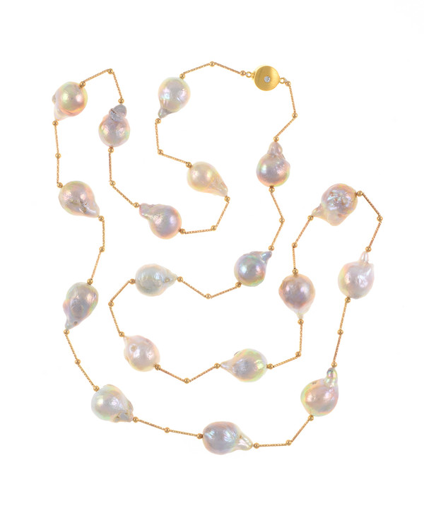 Appalachian Spring Pearl necklace: Natural color pink 14-17mm edison pearls, brass separator and beads, brushed gold tone moonlight clasp set with a single CZ
