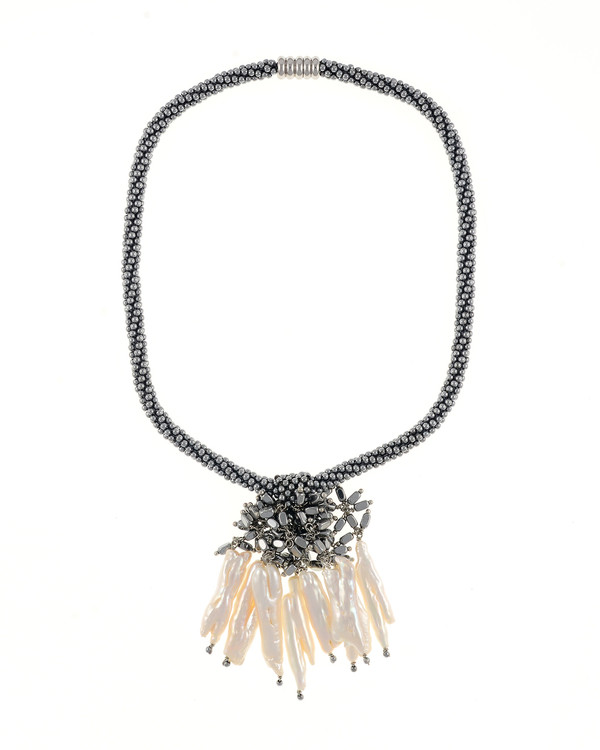 """The Luray Treasury* Pearl Necklace in Silver: Hand-woven silver matte hematite bead necklace with 8 dangling tooth freshwater pearls and matching polished hematite beads, with rare earth mixed metal magnetic clasp, 17"""" length with 2.5"""" tooth pearl drop."""