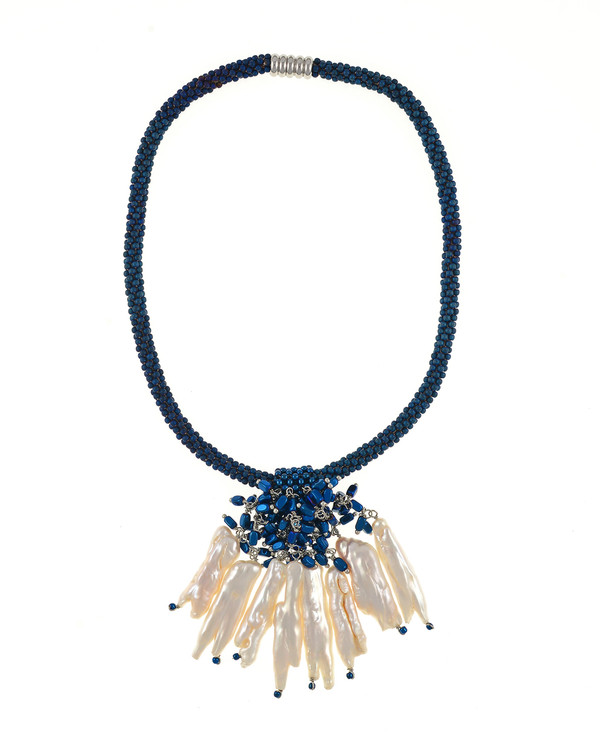 """The Luray Treasury* Pearl Necklace in Royal: Hand-woven royal matte hematite bead necklace with 8 dangling tooth freshwater pearls and matching polished hematite beads, with rare earth mixed metal magnetic clasp, 17"""" length with 2.5"""" tooth pearl drop."""