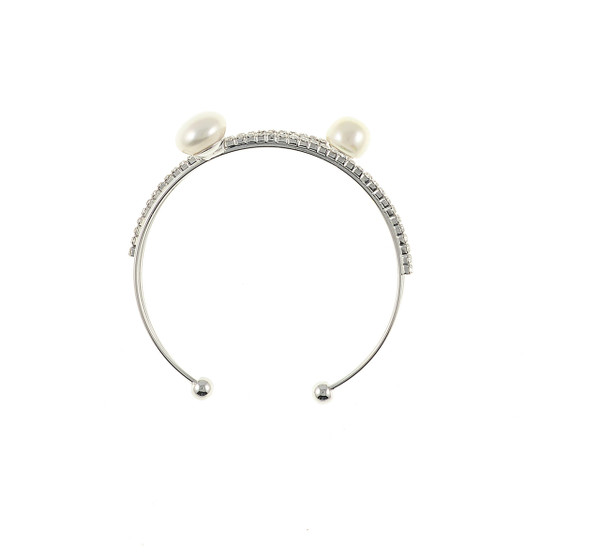 zoom Rockefeller Center Pearl bracelet: Double stranded mixed metal cuff bracelet featuring 2 freshwater pearls 8mm, with 2 rows of CZ accents, one size.