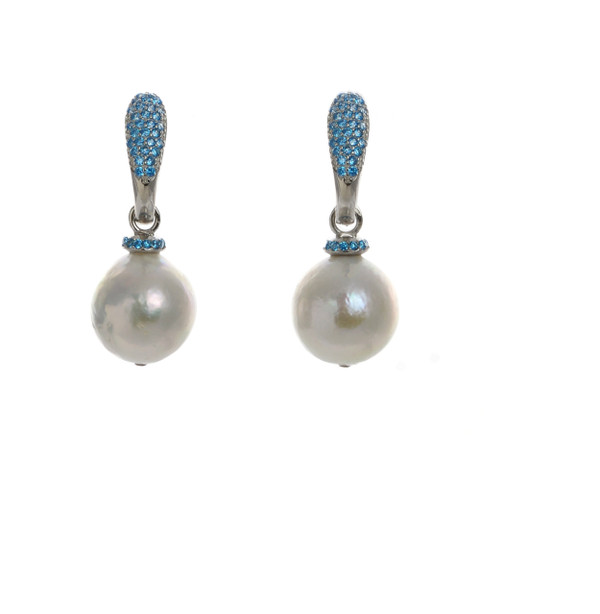 Captiva Pearl Earrings & lagoon colored earrings: Sterling silver, Edison Pearls 12-13mm topped with a circlet of lagoon blue colored CZs, on hinged Sterling silver lagoon blue CZ encrusted closure
