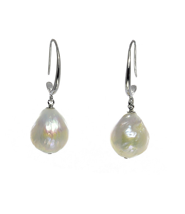 Fairy Pools - Pearl Earrings, 13-15mm Edison pearl earrings in white or natural pink/gold either Sterling Silver drop hoops.