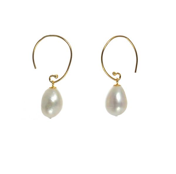 "Dolomiti Earrings - Pearl Earrings, Zoom on Earrings, Gold plate over Sterling Silver ""C"" shaped hoop earrings with  10-11mm high lustre potato pearls."