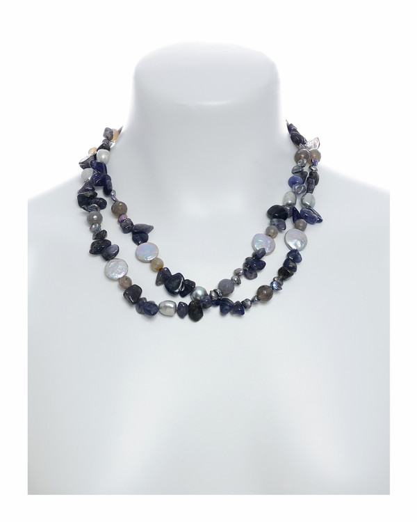 """Nederland - Pearl Necklace Accented with Stones on model, necklace wrapped, 10-11mm silver potato pearls, 13-14mm silver coin pearls, and 5-7mm keshi pearls interspersed with 8-10mm grey agate and tanzanite, individually hand-knotted on silk, 40"""" in length, lariat length"""