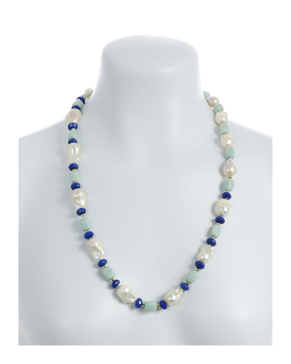 "necklace on model, White 11-13mm biawa pearls, on a single strand with rectangular amazonite beads, lapis, and gold accent beads, on individually hand-knotted natural silk, 28"" in length."