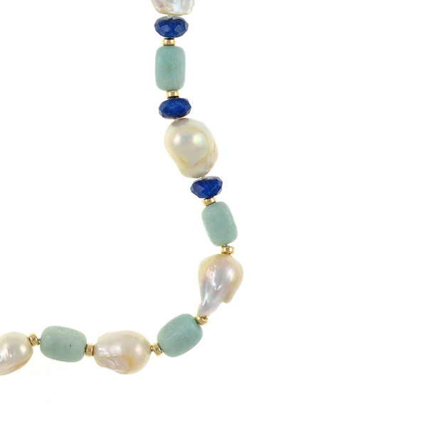 "zoom on transition ar3ea of necklace, White 11-13mm biawa pearls, on a single strand with rectangular amazonite beads, lapis, and gold accent beads, on individually hand-knotted natural silk, 28"" in length."